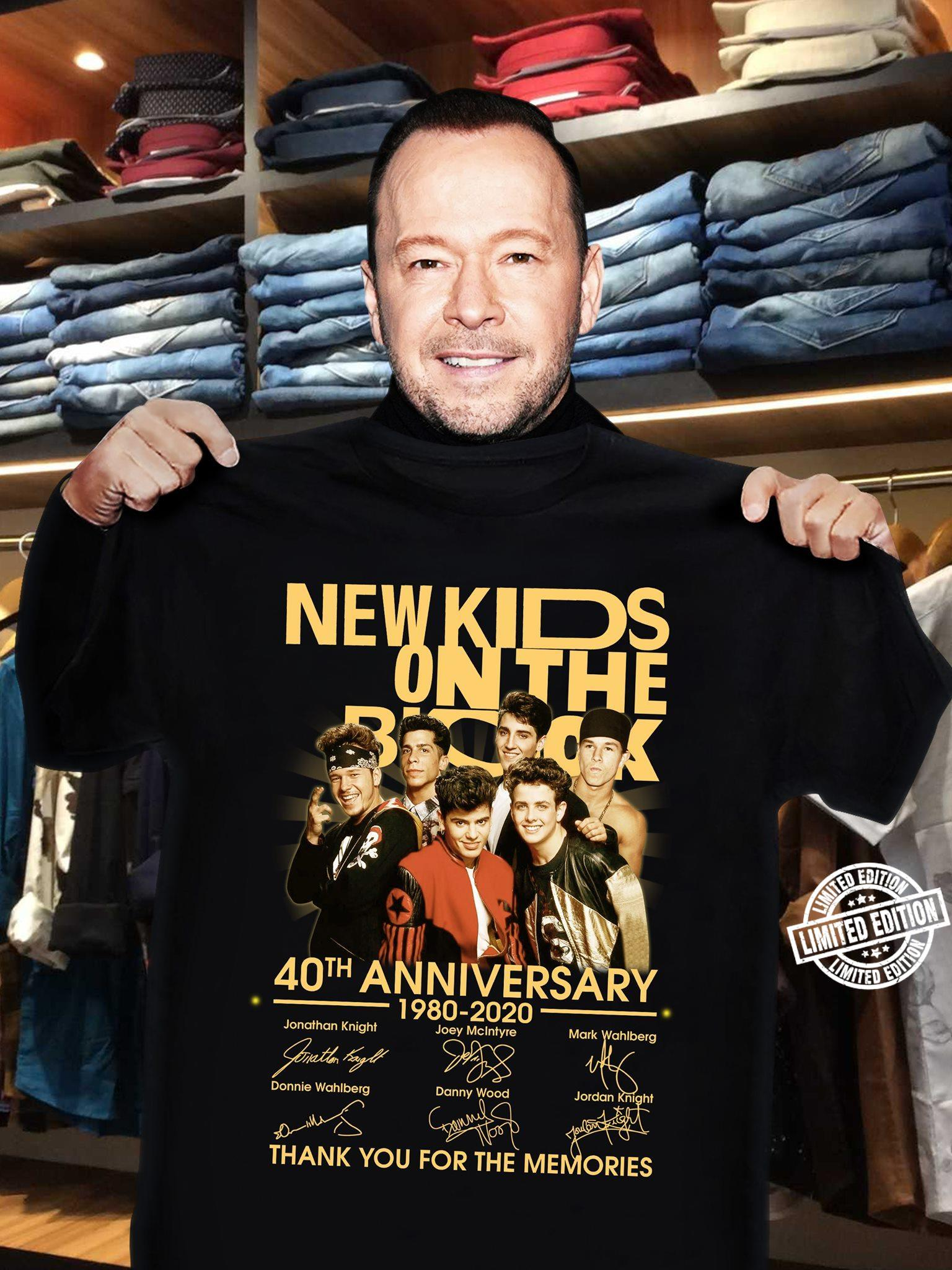 Newkids on the 40th anniversary 1980-2020 thank you the memories shirt